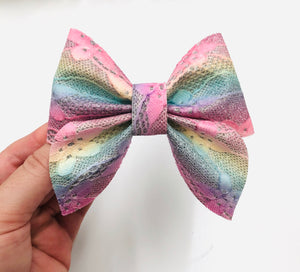 Pastel Rainbow Lace Sailor Bow