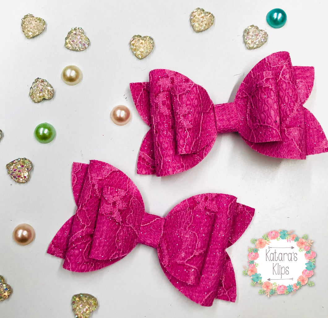 Pink Glitter Lace Double Bow