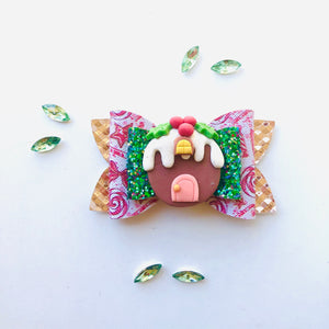 Christmas Gingerbread House Clay bow