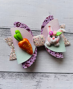 Easter Bunny Carrot Clay bow