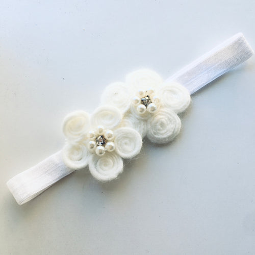White Appliqué flower bow