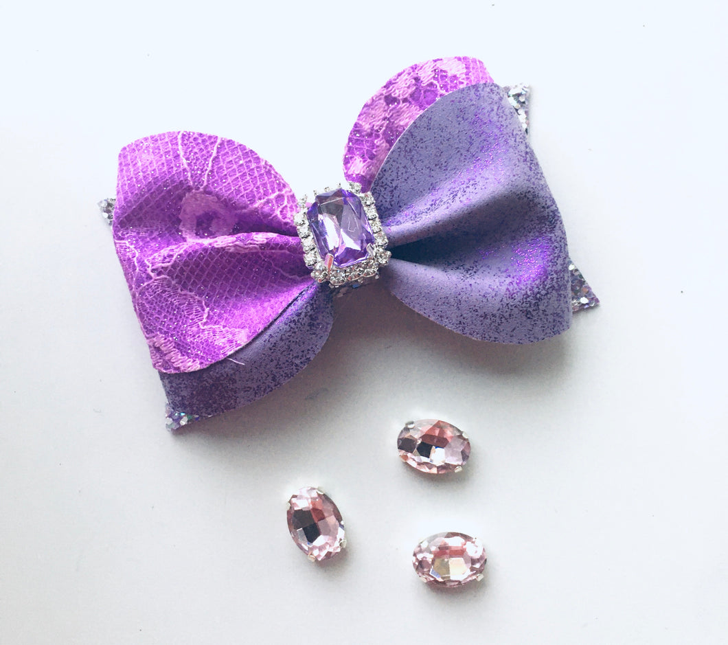 Purple Sequin Rhinestone Ivy Bow
