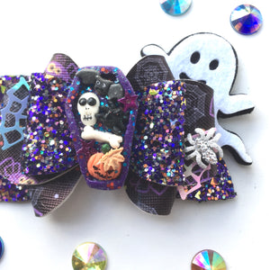 Clay Shaker Coffin Halloween Bow