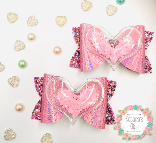 Sequin Heart Pink bow