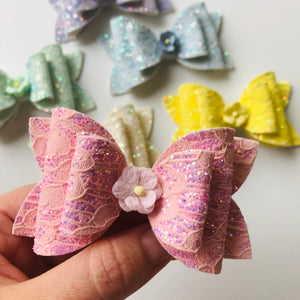 Lace Double bow Clip - choose colour