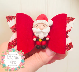 Christmas Santa Clay Velvet bow