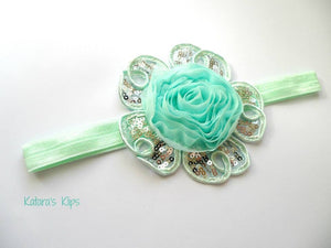 Mint Green Flower Appliqué bow