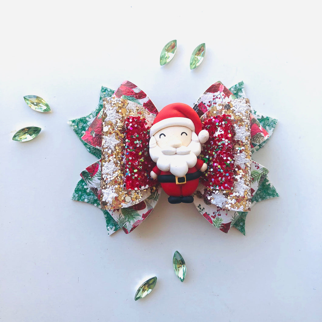 Christmas Santa Green Clay bow