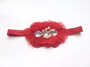 Red Rhinestone Flower bow