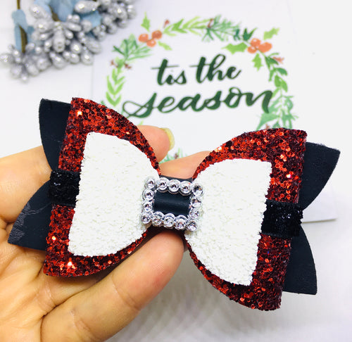 Christmas Santa White bow