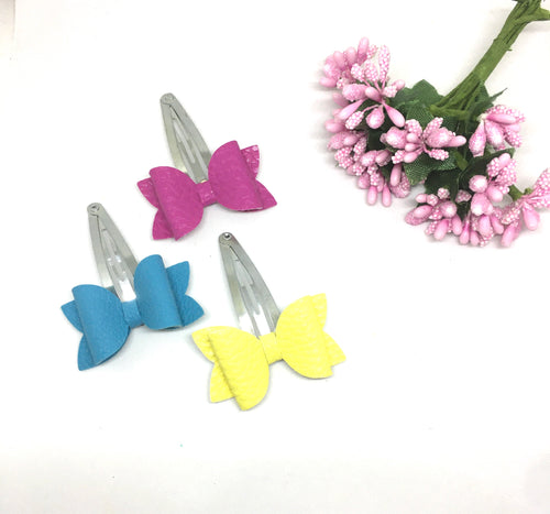 Teeny Luxe Leatherette Snap Clip Trio
