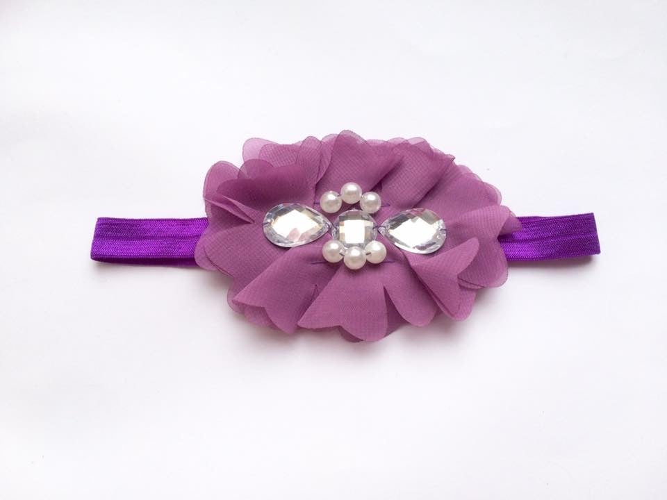 Purple Rhinestone Flower bow