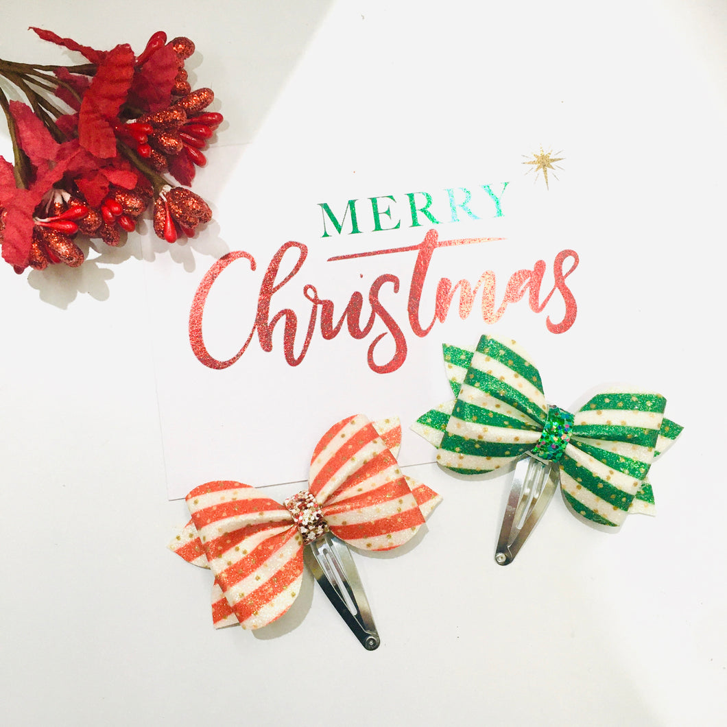 Christmas Baby Glitter Snap Clip Pair