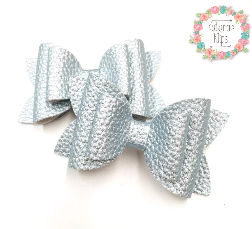 Pastel Ice Blue Double Bow
