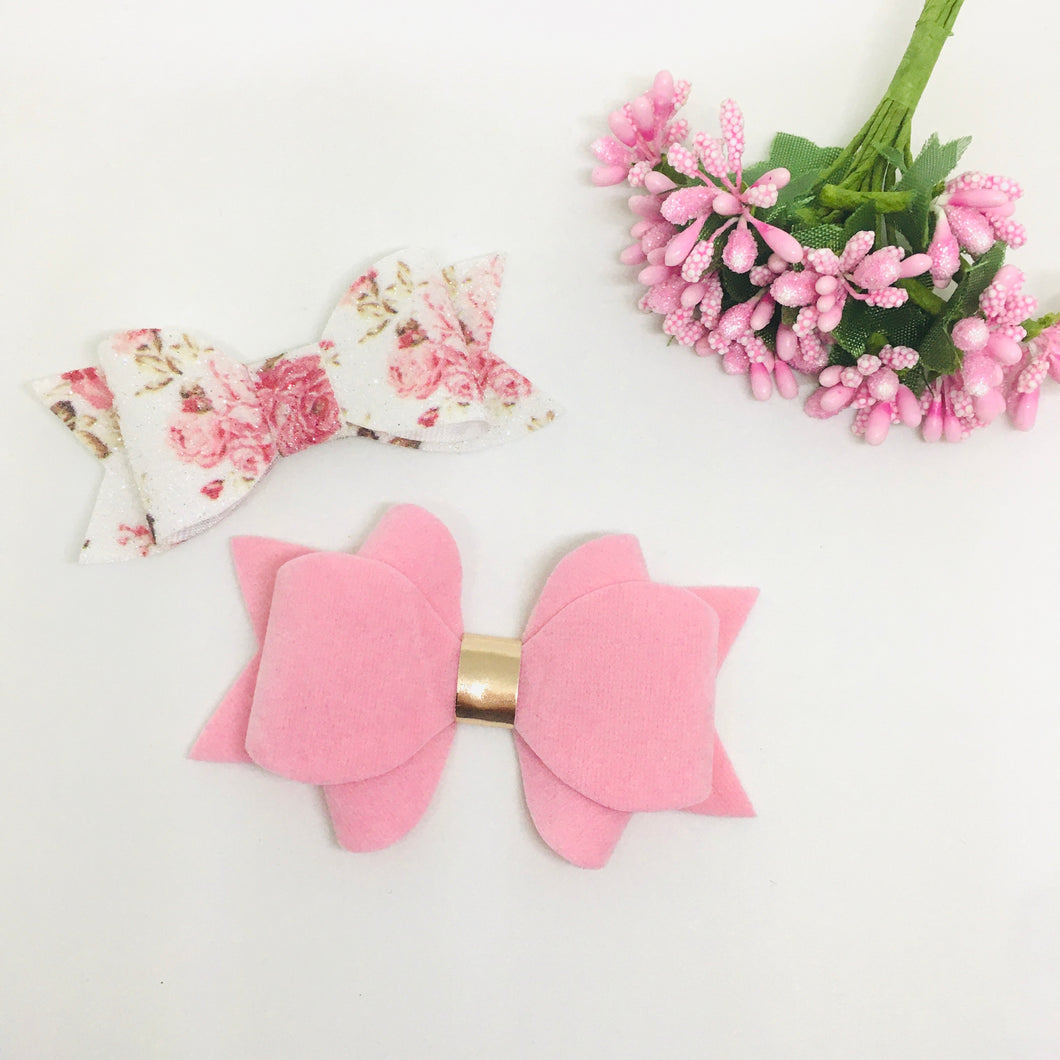 Faux Suede and Leatherette Pink clip pair