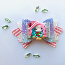 Load image into Gallery viewer, Christmas Unicorn Clay bow