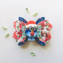 Load image into Gallery viewer, Christmas Blue Dog Clay bow