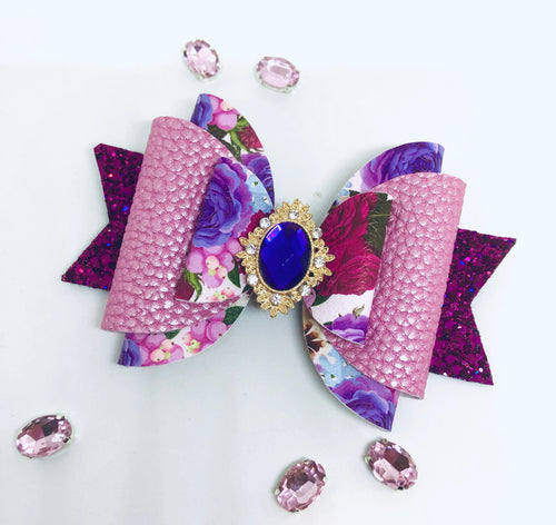Pink Purple Floral Extra large Rhinestone bow