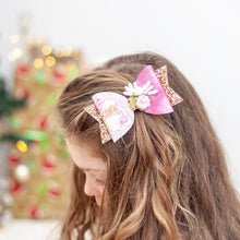 Load image into Gallery viewer, Christmas Pink Glitter Santa bow