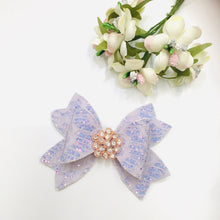 Load image into Gallery viewer, Pastel purple glitter Rhinestone bow