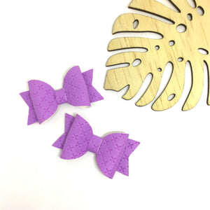 Purple Leatherette Piggytail clip pair