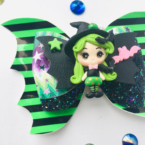 Green Clay Bat Witch Bow