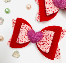 Load image into Gallery viewer, Red Valentines Heart Bow