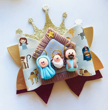 Load image into Gallery viewer, Christmas Nativity Crown Clay bow