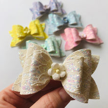 Load image into Gallery viewer, Lace Double bow Clip - choose colour
