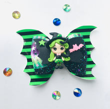 Load image into Gallery viewer, Green Clay Bat Witch Bow