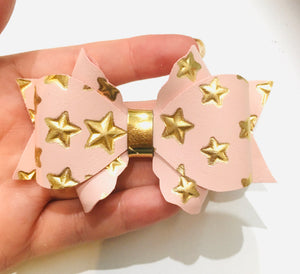 Metallic Scallop Primrose Pink bow