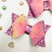 Load image into Gallery viewer, Rosey Rainbow Glitter Bow