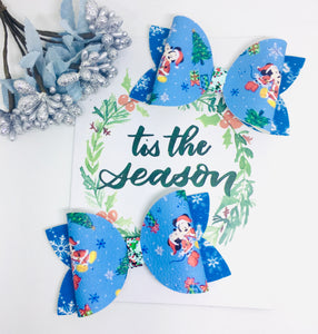 Christmas Blue Holiday Mouse basic bow