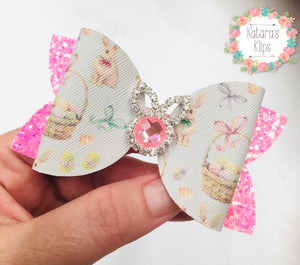 Rhinestone Easter Pink bunny Bow