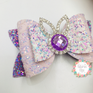 Rhinestone Easter Purple bunny Bow