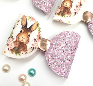 Easter floral glitter bunny Bow