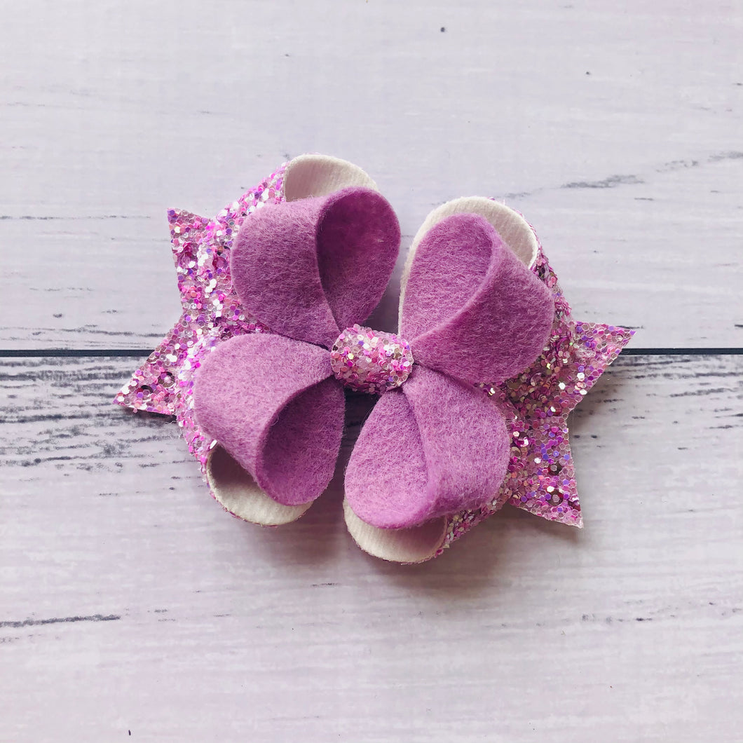 Purple Glitter Felt Posey Bow