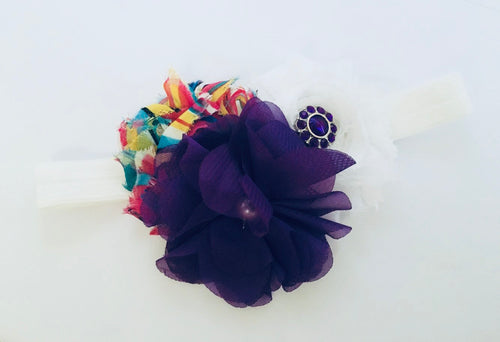Chiffon Trio Flower bow headband