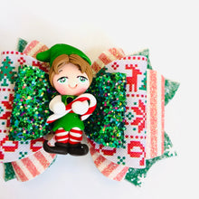 Load image into Gallery viewer, Christmas Elf Buddy Clay bow