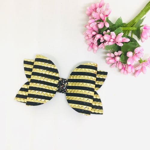Metallic Gold Black bow
