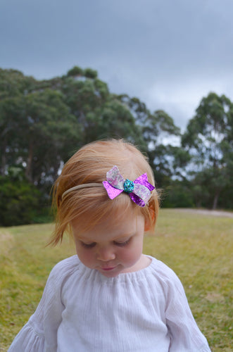 Sophia Purple Floral bow