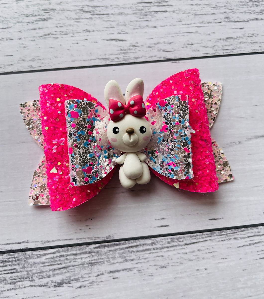Easter Bunny Pink Clay Bow