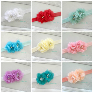 Double Rhinestone Flower bow - choose colour
