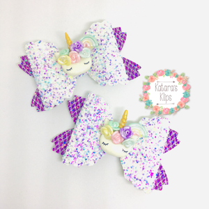 Purple Unicorn Bow