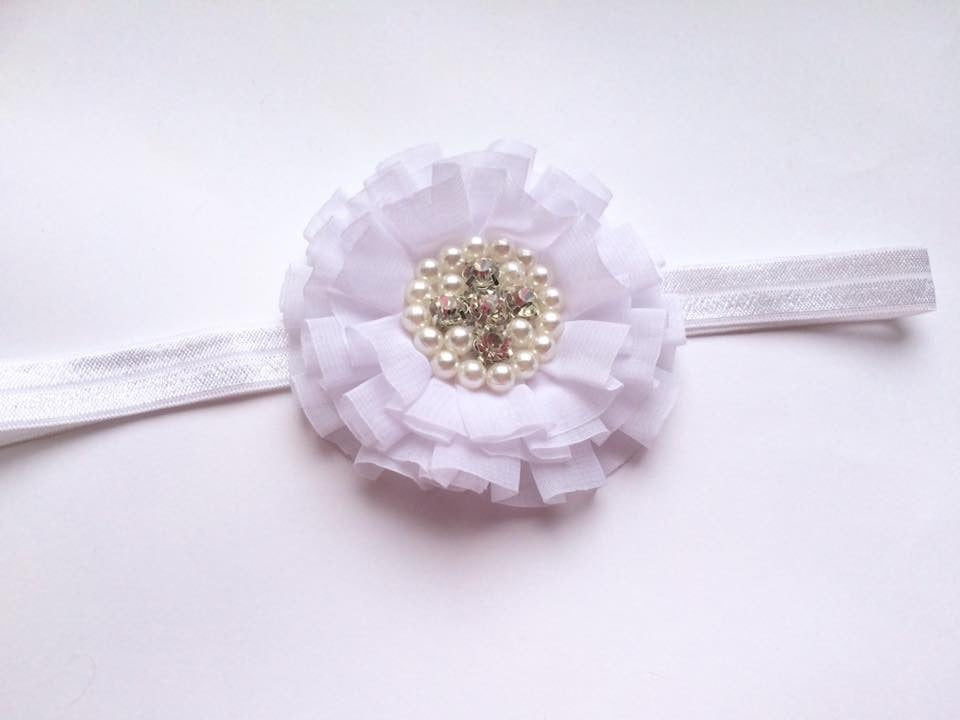 White Round Rhinestone Flower bow