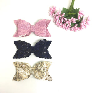Lace Glitter Bow Trio