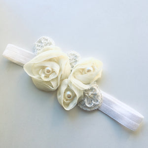 Ivory Pearl Appliqué Flower bow