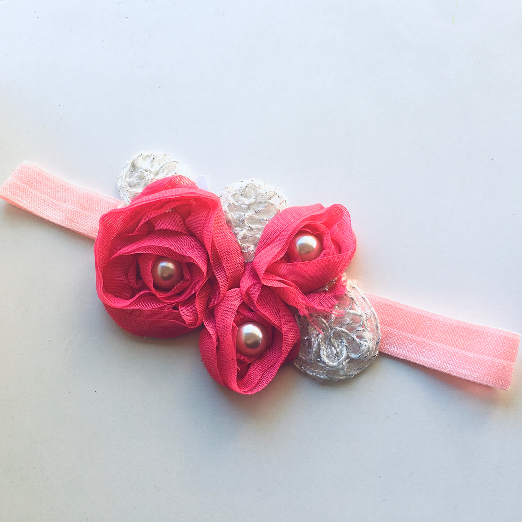 Hot Pink Pearl Appliqué Flower bow