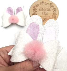 Easter Bunny White Bow Ears