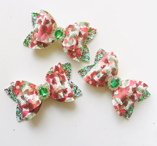 Christmas Poinsettia Glitter bow